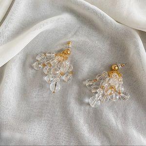 VTG Clear Bead Chandelier Cluster Dangle Earrings